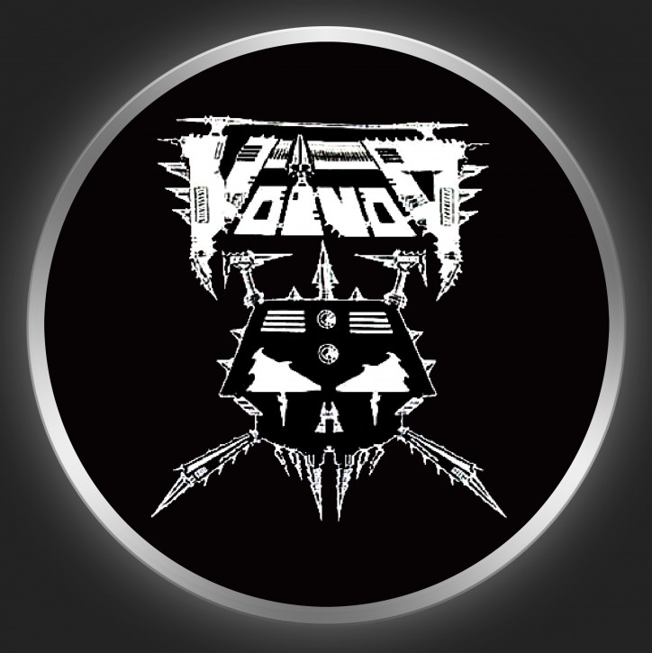 VOIVOD - White Logo 2 On Black Button