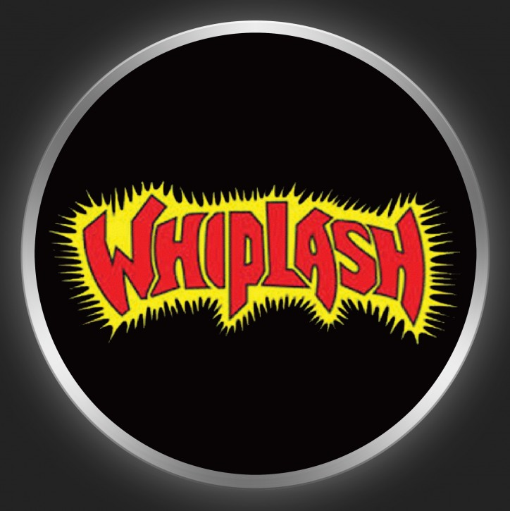 WHIPLASH - Red / Yellow Logo On Black Button