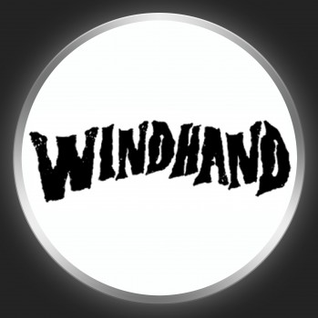 WINDHAND - Black Logo On White Button