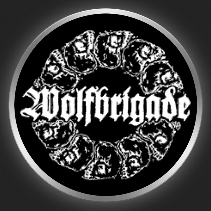 WOLFBRIGADE - White Logo On Black Button