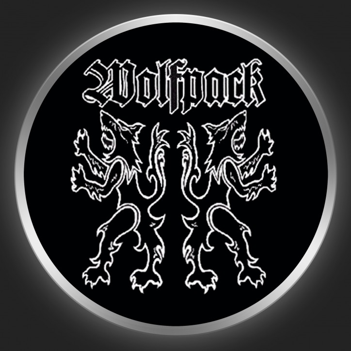 WOLFPACK - Allday Hell White On Black Button