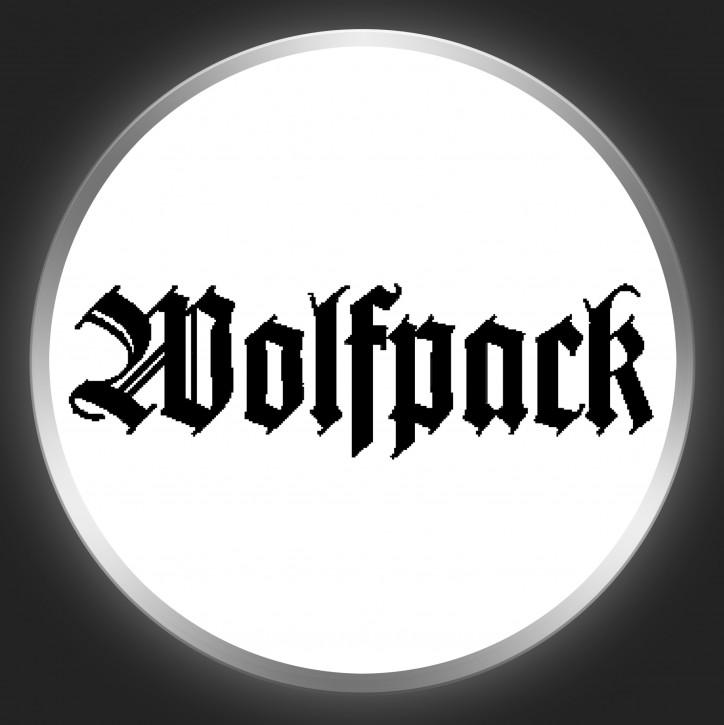WOLFPACK - Black Logo On White Button