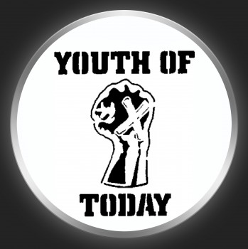YOUTH OF TODAY - Black Logo + Fist On White Button