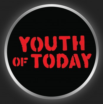 YOUTH OF TODAY - Red Logo On Black Button