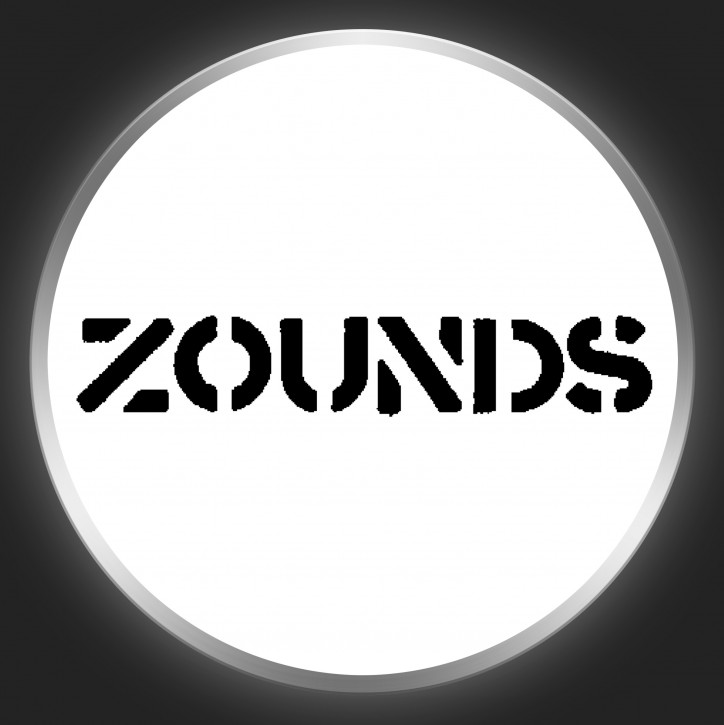 ZOUNDS - Black Logo On White Button